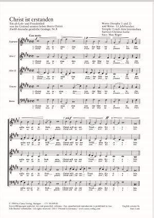 Reger: Christ ist erstanden; Schönster Herr Jesu; Ich wollt, daß ich daheime wäre; Mitten im Leben. Partitur (20 St.)