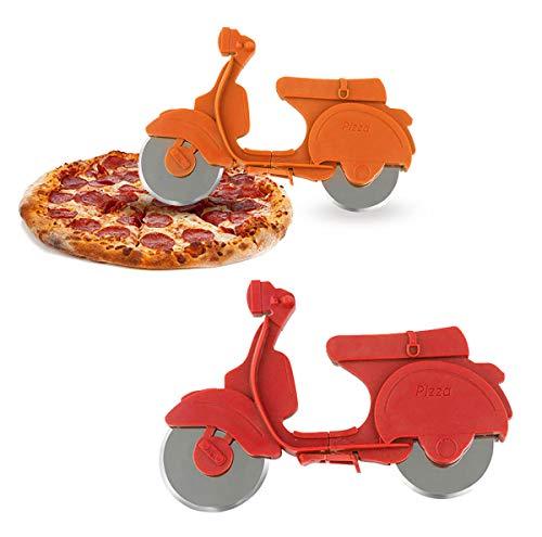 N\O CYJZHEU Set Tagliapizza, 2 Pezzi Rotella Tagliapizza Professionale Inox Tagliapizza a Forma Serpenti in Moto Gadget da Cucina Antiaderenti per Gli Amanti della Pizza (Arancione, Giallo)