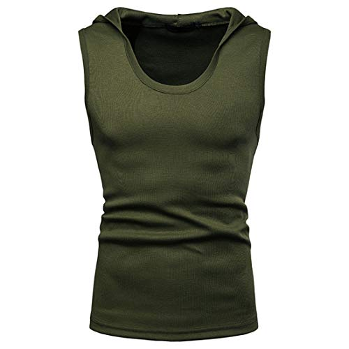 MENHG Men's Solid Colour Slim Fit Sleeveless Tank Tops Simplicity Casual Hipster Hip Hop Hoodies Sports Running Fitness Round Neck Hooded T-shirts Classic Retro Lightweight Sweatshirt Shirt Vest