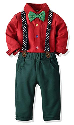 Toddler Dress Suit Baby Boys Clothes Sets Bowtie Shirts + Suspenders Pants 3pcs Gentleman Outfits Suits 6Month - 6Years (Red, 4T)