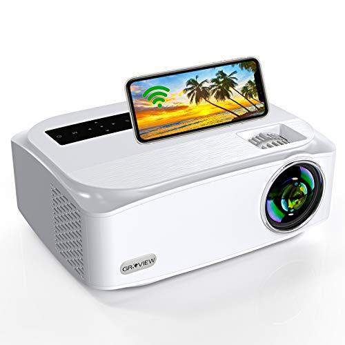 WiFi Beamer, G R O V I E W Native 1080P Video Beamer, 8000 Lumen, unterstützt 2,4G + 5G WiFi, unterstützt 4K, mit Zoomfunktion, 300' Bildschirm, kompatibel mit iPhone/ Android/ TV Stick/ HDMI/ VGA USB