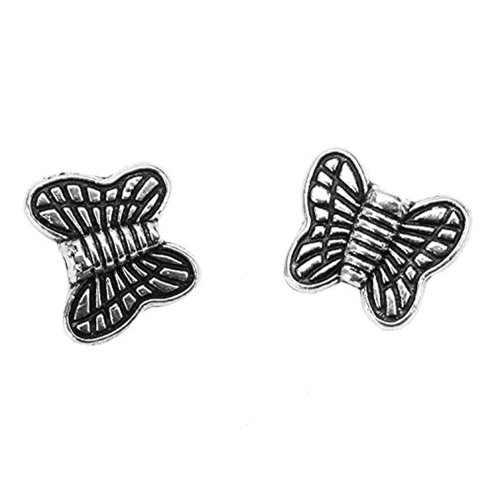 Monrocco 100 Pcs Tibetan Antique Silver Butterfly Spacer Beads Charms Animal Beads for Bracelets Jewelry Making,14x10mm