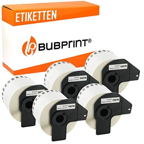 5x Bubprint Etiketten kompatibel für Brother DK-22205 für P-Touch QL500 QL500BW QL550 QL560 QL570 QL700 QL710 QL710W QL720NW QL800 QL810W QL820 QL820NWB QL820NW QL1060N QL1100