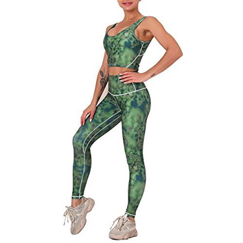 WOERD Conjunto De Ropa De Yoga para Mujer, Mujeres Chaleco Deportivo Top and Leggings Gimnasio Ropa Chándal Yoga Fitness Deportes Estiramiento