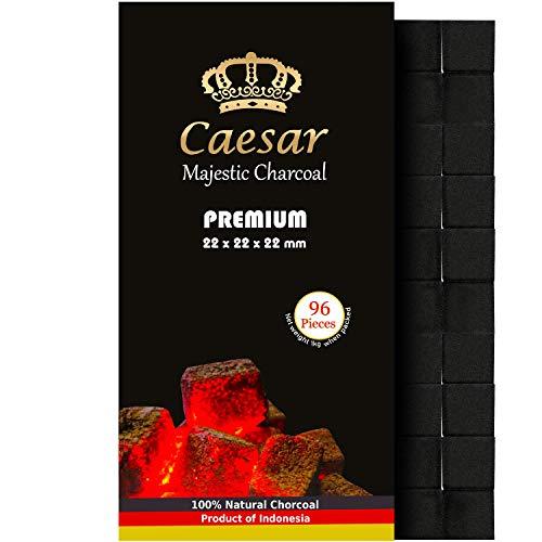 Caesar Premium Shishakohle 1 Kg - Naturkohle - 100% aus Kokosnussschalen - 96 Würfel 2,2 cm