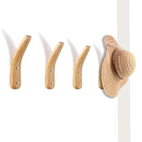 4 Pièces Patères en Bois Mural Support Mural en Bois Naturel Porte-Manteau de Rangement Mural Simple en Forme de V Moderne pour Manteaux Suspendus Chapeaux Sacs Serviettes