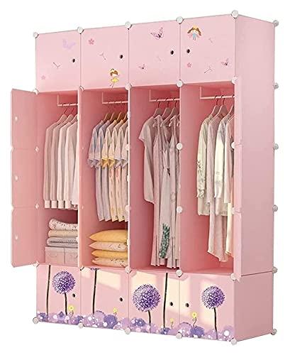 Mix Buzsu Arıtma Armario Bedroom Plástico para niños Simple Dormitorio Dormitorio Gabinete Gabinete de Almacenamiento Paño (Color : Pink, Size : 147X47X183cm)