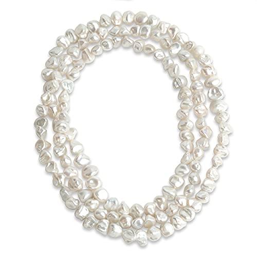 Secret & You Collana di perled'acqua Dolce coltivate Baroque Keshi Lunga 120 cm Perle Keshi barocche Perle da 7-9 a 8-10 mm Annodate Ogni 4 Perle