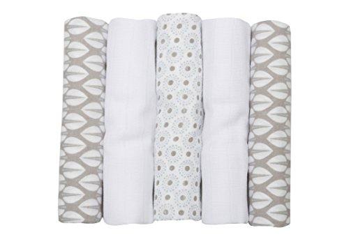 Motherhood Baumwolltücher Set, 3 x Spucktücher plus 2 x Moltontücher, 70 x 80 cm, 100% naturreine Baumwolle, Öko-Tex Standard 100, Bäume Blau 2017