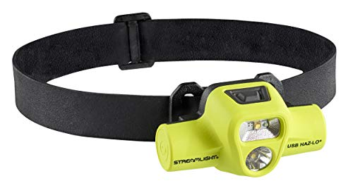 Streamlight 61460 USB HAZ-LO 250-Lumen Intrinsically Safe Rechargeable Headlamp with 120V AC Cord, Elastic Head-Strap, Rubber Hard-Hat Strap and 3M Dual Lock, Yellow