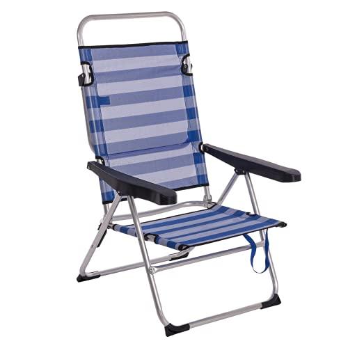 Sillón plegable para playa de aluminio azul Garden - Lola Derek