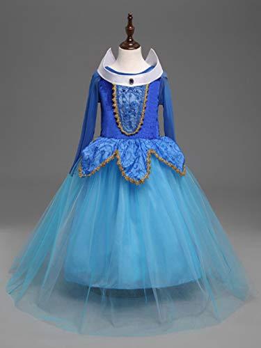Gbcyp Princesse Costume Fille Robe Rose en Tulle Robe de soirée fée, Bleu, 10T