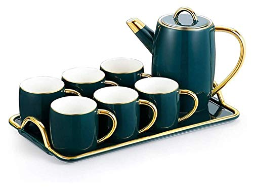 Beautiful Fancy Tea Cups Set, Portable Kungfu Tea Set, 8 Pieces Nordic Style Glazed Porcelain Coffee And Tea Service With 6 Piece Cups And Coffee Tray Afternoon Tea, Tea Mugs Gifts for Women and Men