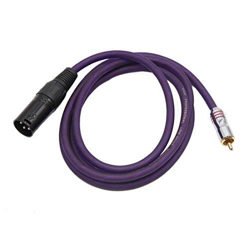 sourcing map Mâle vers RCA mâle Cordon microphone audio stéréo femelle mauve Câble 1.5M long