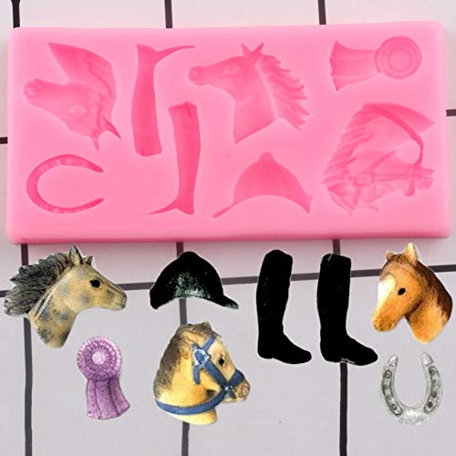 UNIYA Moldes de silicona para caballos, diseño de cabeza de caballo, para cumpleaños, cupcakes, fondant, herramientas de decoración de pasteles, dulces y chocolate