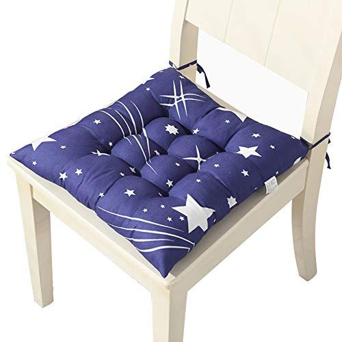Yuly - Juego de 4 almohadillas de asiento cuadradas 100% algodón, cojines para silla de comedor, cómodos cojines con corbatas, cojines de cocina, jardín, 40 x 40 cm