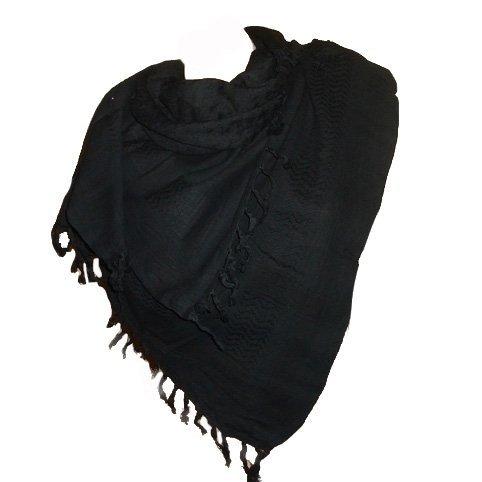 Itendance Keffieh foulard palestinien 100% coton tissé noir uni