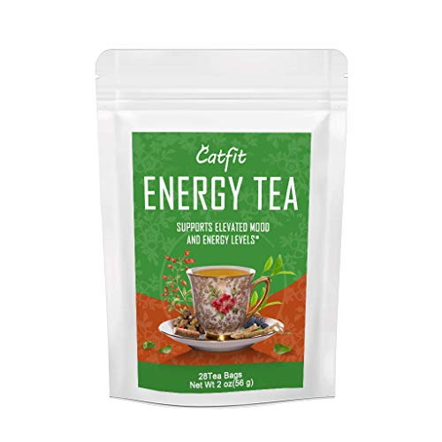 Catfit 28 Days Ginseng Energy Tea Drink Naturally Boost, Herbal Tea Helps Reduce Tiredness and Fatigue (Energy 28days)