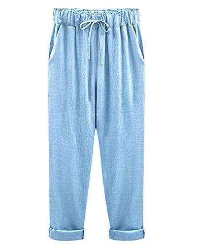 Mujer Pantalones Harem De Cintura Elástica con Cordón Tallas Grandes Suelto Casuales Capri Pantalones