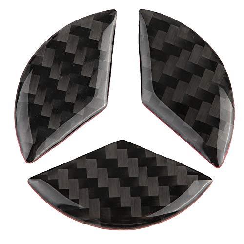 Suuonee Lenkrad Logo Aufkleber, 3er Lenkrad Auto Dekor Logo Aufkleber Carbon für C Klasse W204 2005-2012