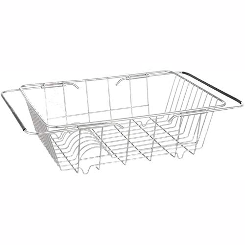 SHIZPHH Dish Drying Rack with Stainless Steel Utensil Holder Large Dish Rack Drainer Drain Expandable Over Sink Or On Counter Rustproof (Size : M)