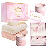 Gift Set for Women with 2 Pink Marble Scented Soy Wax Candles 8 oz, Lavender&Rose, 2 Hand Towels Pink&White 100% Cotton Luxury Quick Dry Extra Soft, Gift for Women Mom Aunt Friend Grandma Wife Sister