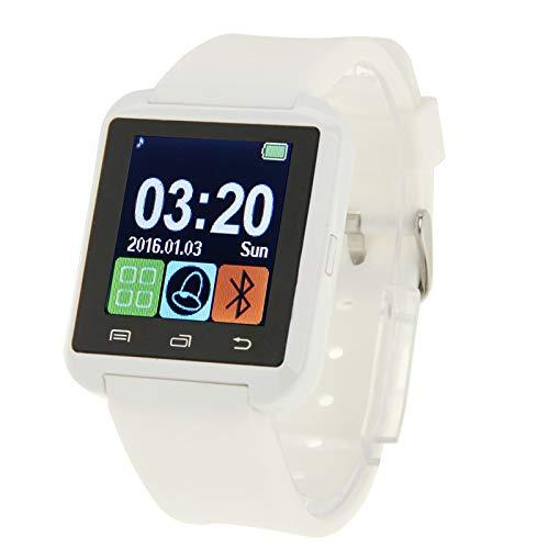 Wdckxy Hwj U80 Bluetooth-Smartwatch, 3,8 cm (1,5 Zoll) LCD-Bildschirm für Android-Handys, unterstützt Anrufe, Musik, Schrittzähler, Schlafmonitor, Anti-Verlust-Funktion, Schwarz (Farbe: Weiß)