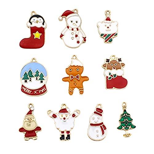 Holibanna 10 Piezas de Colgantes de Navidad Juego de Colgantes de Árbol de Navidad Muñeco de Nieve Campana de Venado Colgantes para Hacer Joyas Collares Pulseras