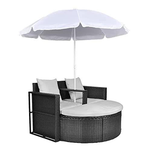 dongyu Patio Furniture Outdoor-Tagesbett mit waschbaren Kissen für Terrasse, Hinterhof, Veranda, Pool, rundes Tagesbett, getrennte Sitzgelegenheit (beige) Camping Lounge Stühle (Farbe: A)