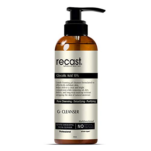 Recast 10% Glycolic Acid Face Wash – G Cleanser  Exfoliating, Non Drying & Foaming AHA Cleanser – Anti-Aging   Skin Tone   Acne   Wrinkles   Pores  Blackheads – Sulfate and Paraben Free – 200ml