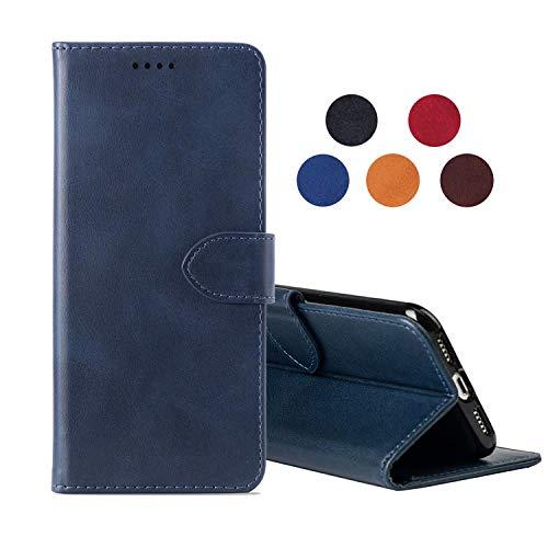 cookaR Huawei Y6S Handy Hülle Tasche Flip Hülle Kredit Karten Fach Geldklammer Leder Handy Schutzhülle Unsichtbar Magnet Verschluss Standfunktion,Blau