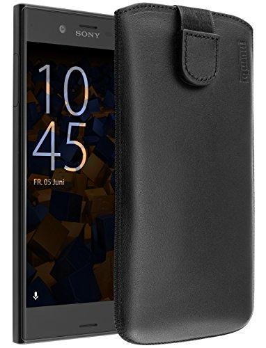 mumbi Echt Ledertasche kompatibel mit Sony Xperia XZ / XZs Hülle Leder Tasche Case Wallet, schwarz