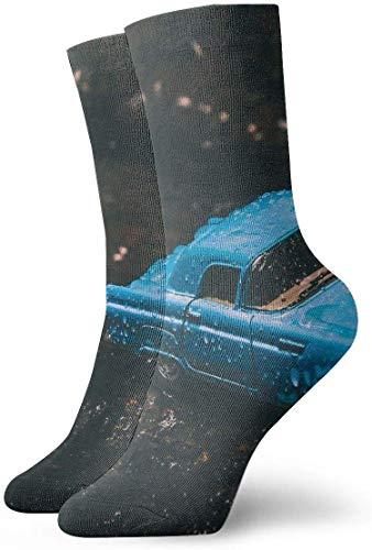 QUEMIN Calcetines de compresión antideslizantes de juguete modelo de coche fundido azul, calcetines deportivos acogedores de 30 cm para hombres, mujeres y niños