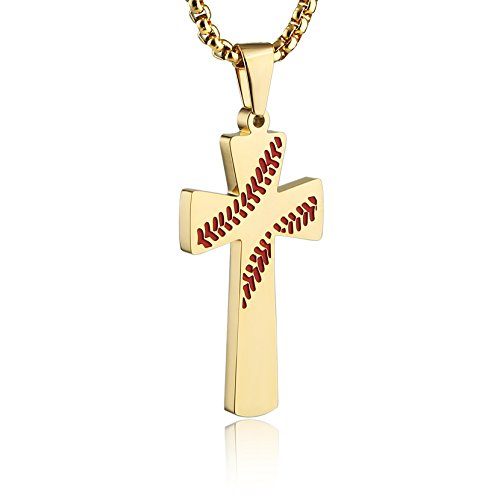 HZMAN Baseball Cross Pendant, I CAN DO ALL THINGS STRENGTH Bible Verse Stainless Steel Necklace (Red Gold)