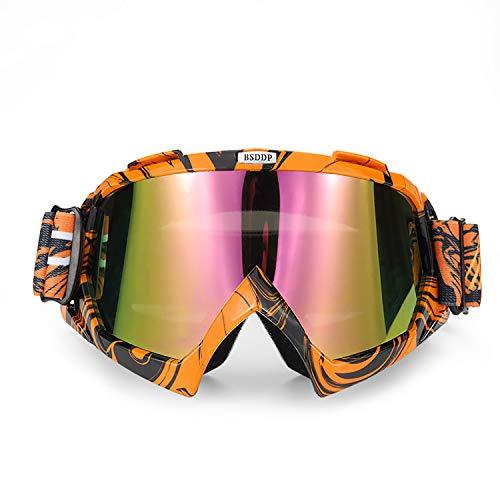ATV Cycling Goggles Motorcross Motorcycle Safety Glasses for Women Men Youth Shatterproof Anti-UV Dustproof Soft Sponge Padded Dirtbike Racing Snowboard Ski Goggle Orange Black-Tinted Lens KG10