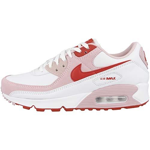 Nike Low Air Max 90 QS - Sneaker da donna, Bianco (White University Red Tulip Pink White Dd8029 100), 41 EU