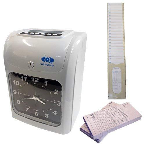 Reloj para registrar horarios y asistencia (incluye tarjetas y soporte para tarjetas), juego completo, listo para usar