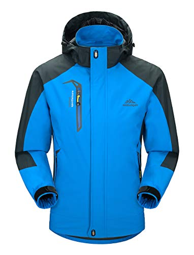 YSENTO Mens Outdoor Waterproof Hoodded Jacket Breathable Walking Climbing Lightweight Rain Coat(blue,2XL)