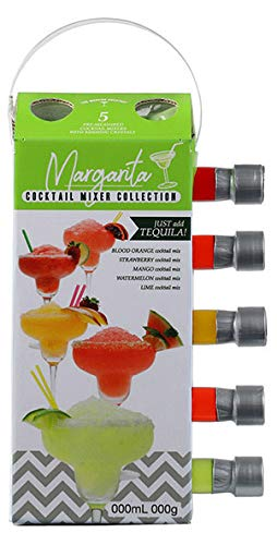 Thoughtfully Gifts, Margarita Mixer Gift Set, 2.3 Ounces Each, Flavors Include Blood Orange, Strawberry, Mango, Watermelon, and Lime, Includes Rimming Salt, Pack of 5