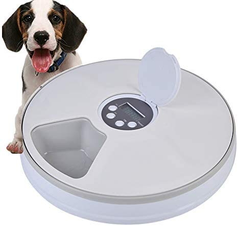 Lelesta Automatic Pet Feeder 6 Meal Trays Dry Wet Food...