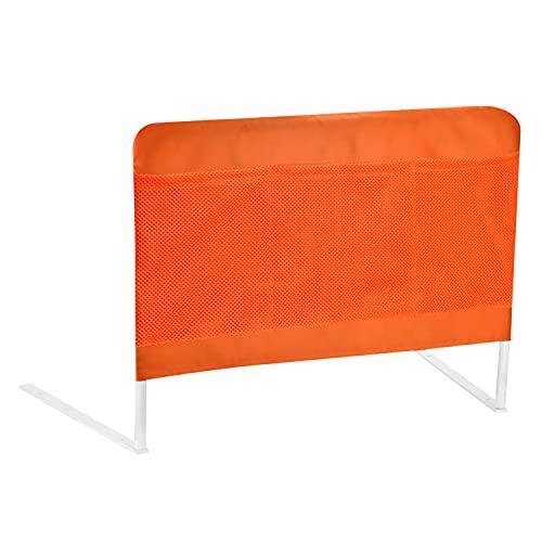 Lengon Bettgitter, 3 Seitentaschen am Bettgeländer, gegen Herunterfallen, faltbares Bettgitter für Erwachsene und ältere Menschen (orange)
