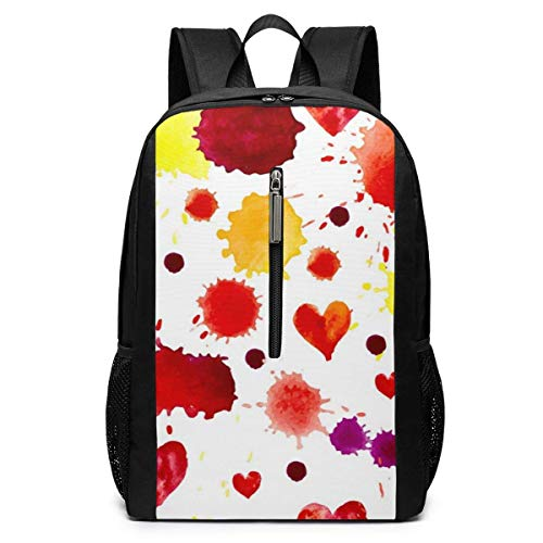 TRFashion Sac à Dos Watercolor Colorful Blot and Heart Laptop Backpack 17 inches Travel Gym Bag Yoga Bag School Bag Book Bag for Men Women Teenagers