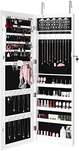 Espejo Joyero LED Armario Joyero Organizador Joyas con Espejo Colgante con Cerradura para Aretes Anillos Collares Bufanda Blanco 36x9.5x120cm