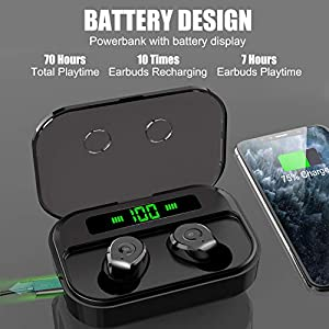 Wireless Earbuds, NYZ True Wireless Bluetooth Earbuds Bass Headphones Earphones with Wireless Charging Powerbank Case Battery Display IPX7 Waterprooof 70H Playtime for iPhone,Android,Windows