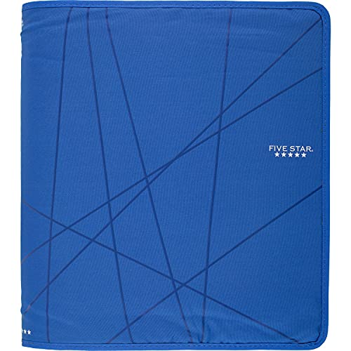Five Star 1-1/2 Inch Zipper Binder, Ring Binder, Blue (73029)