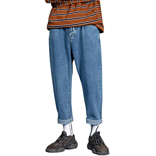 メンズカウパンツ 男性ストリートウェアブルージーンズ女性ブラックジーンズ韓国ファッションハーレムパンツ男性デニムパンツオーバーサイズ スリムフィットジーンズ (Color : Blue, Size : XXL)