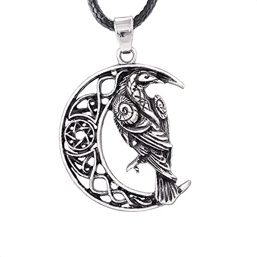 HAQUIL Raven Necklace, Celtic Raven on Crescent Moon Pentagram Pendant, Faux Leather Cord, Raven Jewelry Gift