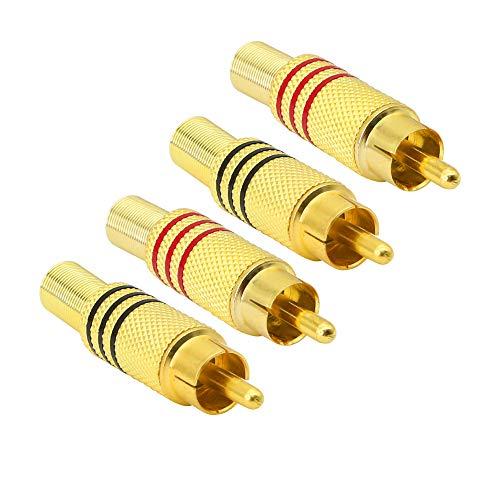 Conector de audio RCA RCA estéreo macho chapado en oro con resorte...