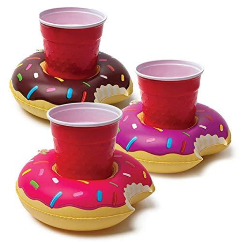 Mattelsen 3 Pcs Posavasos de Flotador Rosquillas Bebida Inflador Colchonetas y Juguetes Hinchables de Piscina Bar Flotante Verano Exterior Ocio Juguetes Niños Adultos