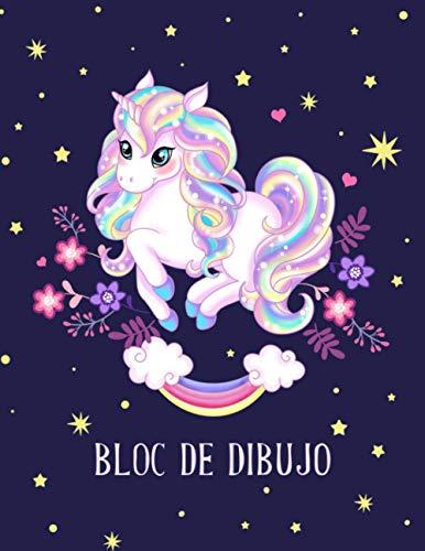 Bloc de dibujo: Cuaderno en blanco para niños para dibujar, escribir y pintar (Unicornio Mágico).